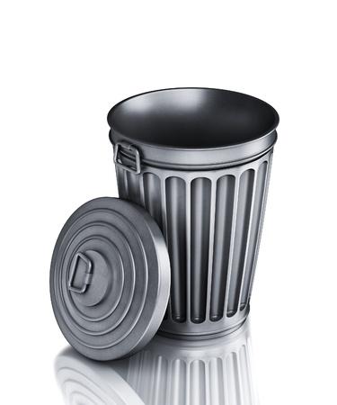 papelera de reciclaje: Una vac�a la Papelera (render 3d)