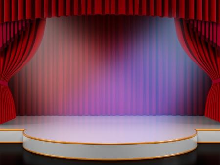 broadway: Empty Stage mit roter Vorhang und leuchtet (3d Render)