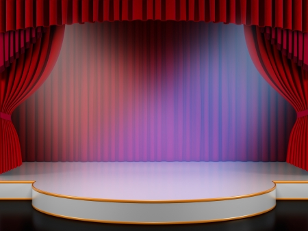 Empty stage with red curtain and volume lights (3d render)  Stock Photo