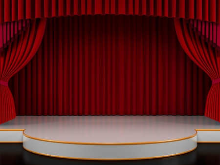 Empty stage with red curtain (3d render)  photo