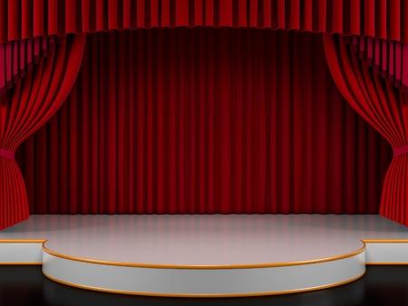 sipario chiuso: Svuotare il palco con tenda rossa (rendering 3d)