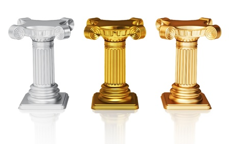Silver,gold and bronze pedestals  Stock Photo