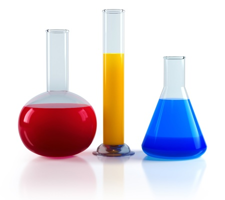 conical: Chemical flasks with reagents