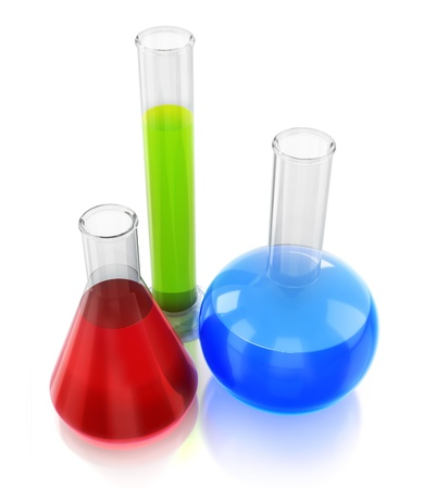 Chemical flasks with reagents Stock Photo - 9959851