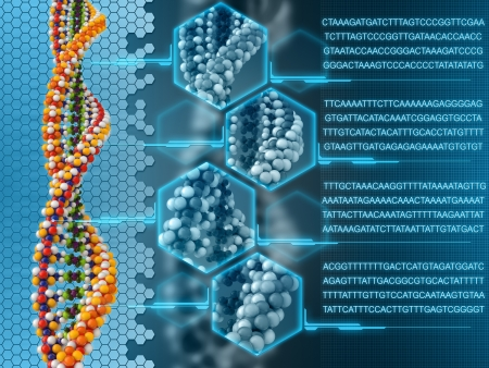 dna strand: DNA analysis concept background