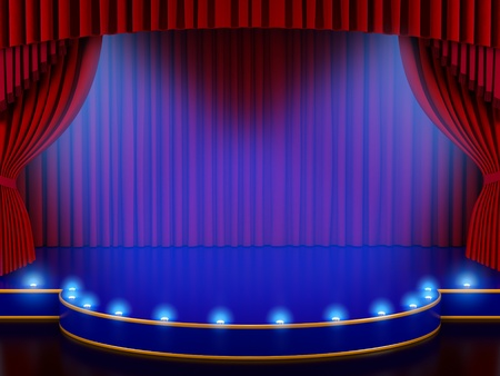 theater auditorium: Empty stage with red curtain (3d render)