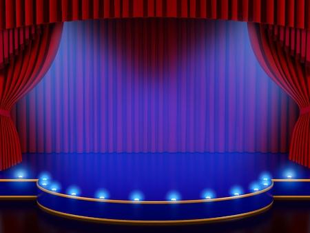 broadway show: Svuotare il palco con tenda rossa (rendering 3d)
