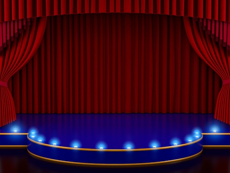 broadway show: Empty stage with red curtain (3d render)