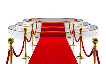 b�hne: Runde B�hne mit roten Teppich