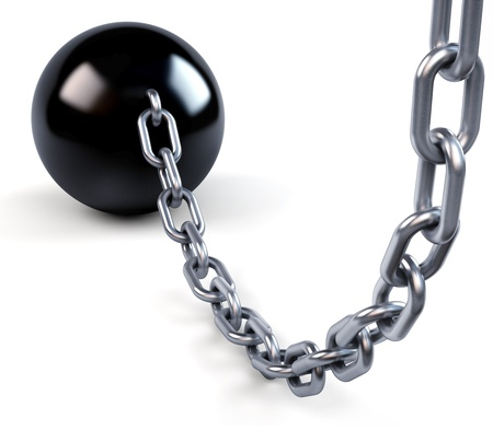 enslave: Ball and massive chain  Stock Photo