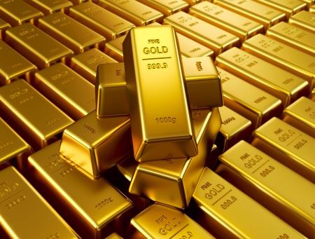 Gestapelde goudstaven Stockfoto