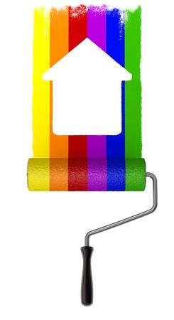 simple house: Rainbow Paint roller