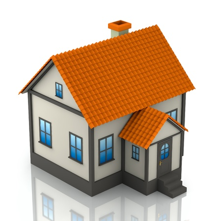 A small house on a white background  3D render  photo