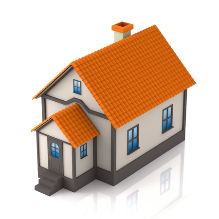 render residence: A small house on a white background  3D render