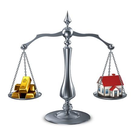goldbars: balance scale with house and goldbars  Stock Photo