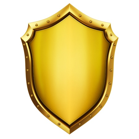 metal shield: Gold Shield  Stock Photo