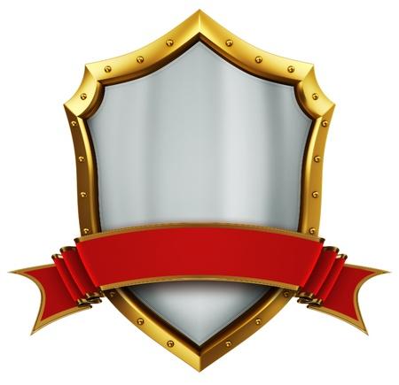 Shield and ribbon  Stock Photo