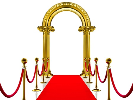 red carpet event: Golden column with Red Carpet  Stock Photo