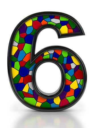 Number 6 symbol with multicolored mosaic tiles, isolated on white background Stock Photo - 18159357
