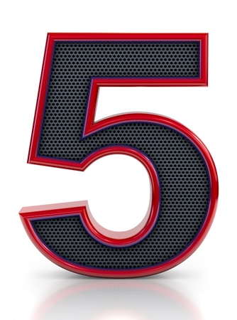 number 5: Number 5 symbol with grille mesh inside isolated on white background   Stock Photo