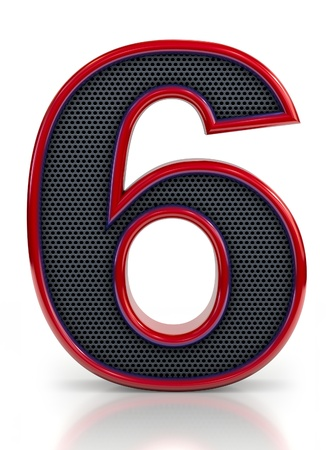 number 6: Number 6 symbol with grille mesh inside isolated on white background