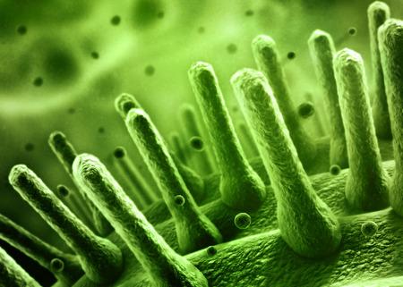 dna background: Bacteria spheres 3d illustration