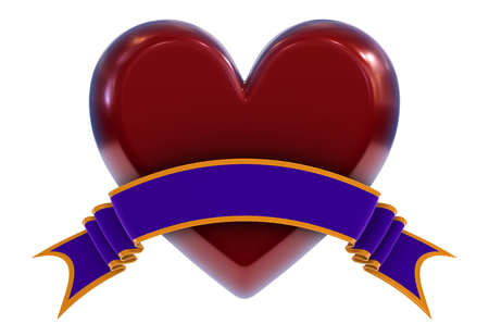 Heart symbol with ribbon Stock Photo