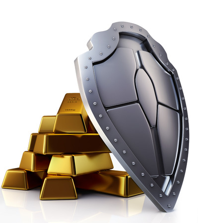 Gold bars and shield, protection 3d concept Stock Photo