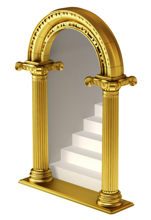Gouden boog met trappen. Stockfoto