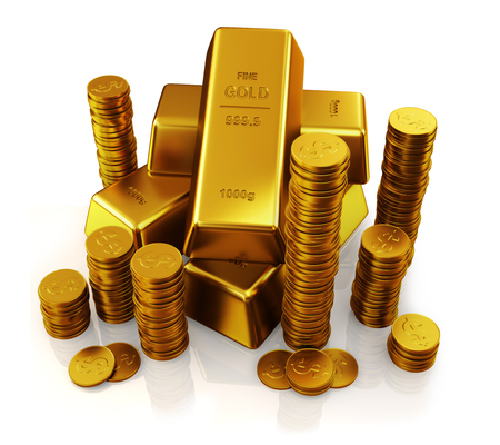 gold bars and golden coins