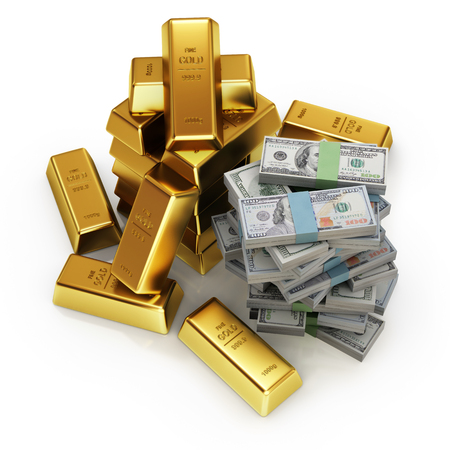 3d illustration of gold bars and dollars banknotes.