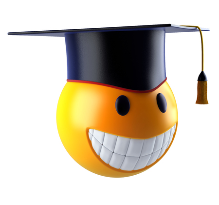 Smiley sphere emoticon with graduation student cap. 3d render