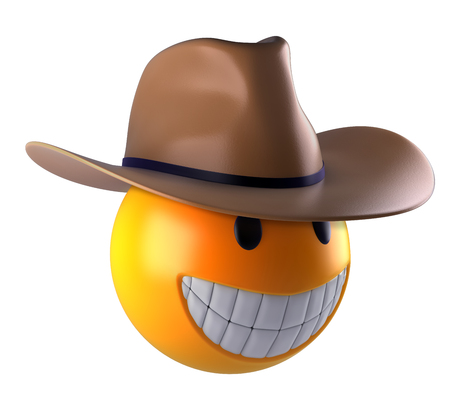 3d render of a cute smiley sphere with cowboy hat. Stock Photo