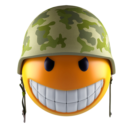 Smiley face sphere with military helmet 3d render Stock Photo