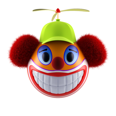 Smiling clown face emoticon sphere with funny baseball cap. 3d render.