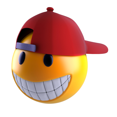 3d render of a smiley face with baseball cap.