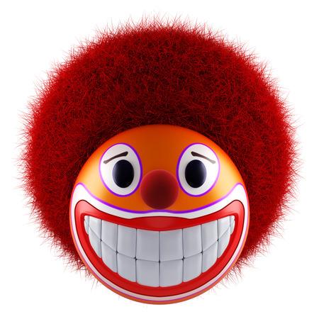 Smiling clown face emoticon sphere 3d render