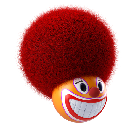 Smiling clown face emoticon sphere 3d render Stock Photo - 103001105