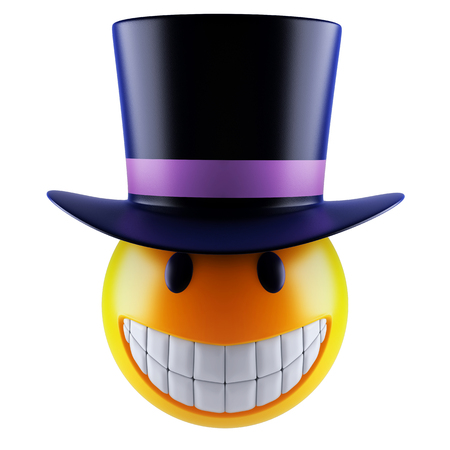 3d render of a cute smiley sphere with victorian top hat