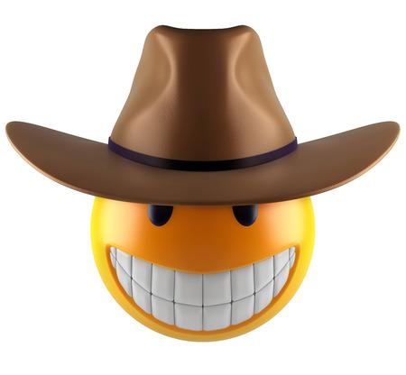 3d render of a cute smile emoji sphere with cowboy hat.