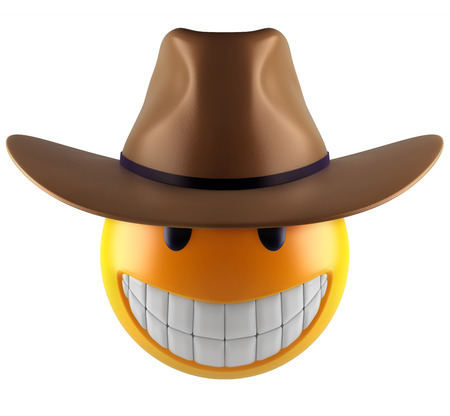 3d render of a cute smile emoji sphere with cowboy hat.