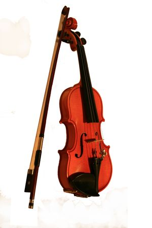 Violin with a bow on a white background photo