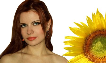 Portrait of the girl with a sunflower on a white background. A collage. Stock Photo - 2127319