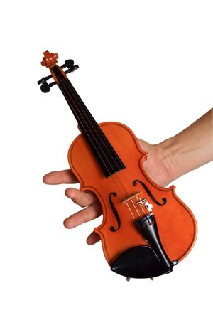 masterly: Small violin in a hand. A white background
