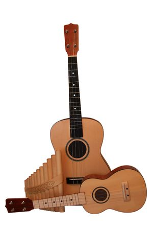 acoustic ukulele: UKULELE with pan-flute. It is isolated on a white background
