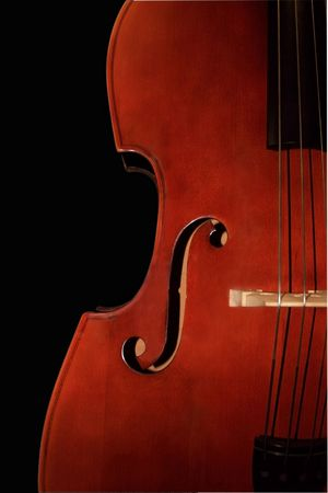 Contrabass-orchestral a musical instrument. It is isolated on a black background photo