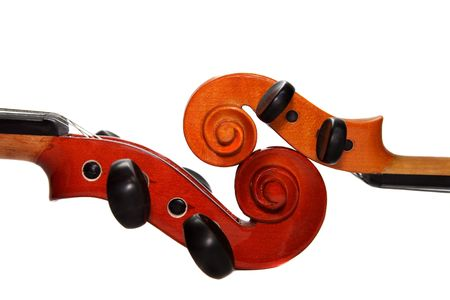 masterly: Two violins separately on a white background. A detail Stock Photo