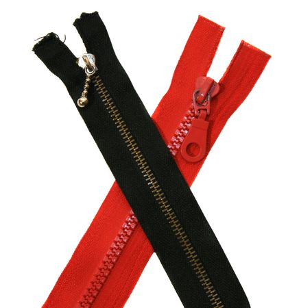 undone: Black and red zip is isolated on the white background