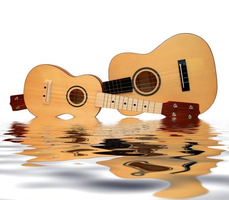 acoustic ukulele: Ukulele a-small acoustic guitar. It is isolated on a white background Stock Photo
