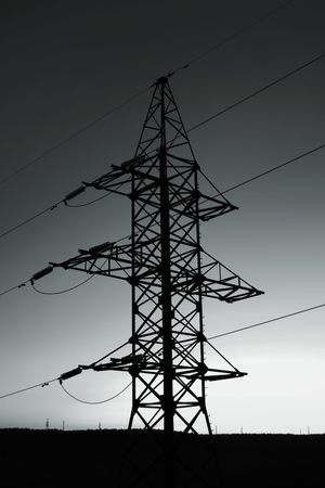 transfers: Silhouette of a column electric transfers on a background of a decline